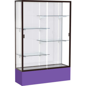 "Spirit Display Case Purple Base, Bronze Frame, White Back 48""W x 16""D x 72""H"