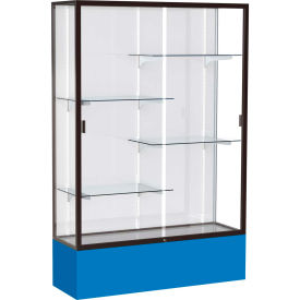 "Spirit Display Case Royal Blue Base, Bronze Frame, White Back 48""W x 16""D x 72""H"