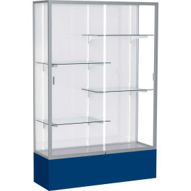 "Spirit Display Case Navy Base, Satin Frame, White Back 48""W x 16""D x 72""H"