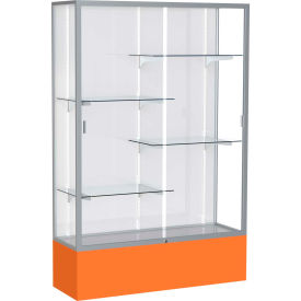 "Spirit Display Case Orange Base, Satin Frame, White Back 48""W x 16""D x 72""H"