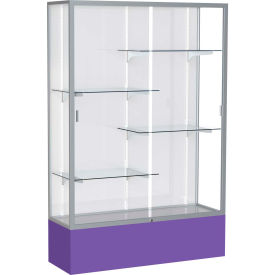 "Spirit Display Case Purple Base, Satin Frame, White Back 48""W x 16""D x 72""H"