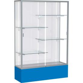 "Spirit Display Case Royal Blue Base, Satin Frame, White Back 48""W x 16""D x 72""H"