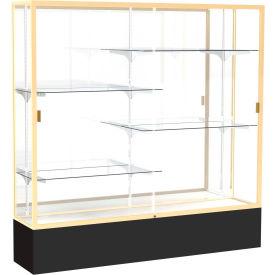 "Spirit Display Case Black Base, Gold Frame, Mirror Back 72""W x 16""D x 72""H"