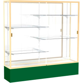"Spirit Display Case Forest Green Base, Gold Frame, Mirror Back 72""W x 16""D x 72""H"