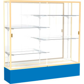 "Spirit Display Case Royal Blue Base, Gold Frame, Mirror Back 72""W x 16""D x 72""H"