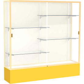 "Spirit Display Case Golden Rod Base, Gold Frame, Fabric Back 72""W x 16""D x 72""H"