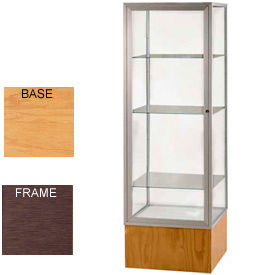 "Keepsake Display Case Autumn Oak Base, Bronze Frame, Clear Back 24""W x 72""H"