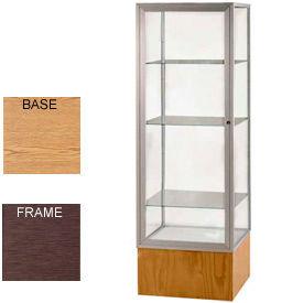 "Keepsake Display Case Light Oak Vinyl Base, Bronze Frame, Clear Back 24""W x 72""H"