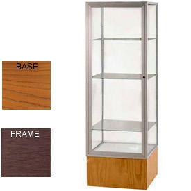 "Keepsake Display Case Carmel Oak Base, Bronze Frame, Clear Back 24""W x 72""H"