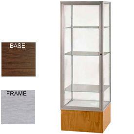 "Keepsake Display Case Walnut Vinyl Base, Satin Frame, Clear Back 24""W x 72""H"