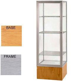 "Keepsake Display Case Autumn Oak Base, Satin Frame, Mirror Back 24""W x 72""H"