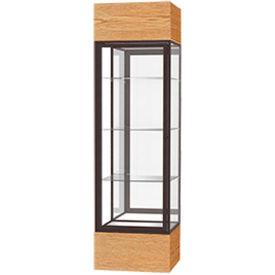 "Keepsake Floor Display Case 24""W x 72""H x 24""D Light Oak Base Mirror Back Dark Bronze Frame"