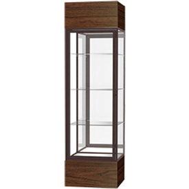 """Keepsake Floor Display Case 24""""W x 72""""H x 24""""D Walnut Base Mirror Back Dark Bronze Frame"""