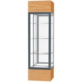 "Keepsake Floor Display Case 24""W x 72""H x 24""D Light Oak Base Mirror Back Satin Natural Frame"