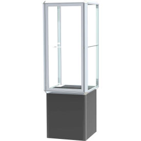 "Prominence Spotlight Lighted Tower Case, Glass Back, Chrome Frame, Locking Base, 24""L x 72""H x 24""D"