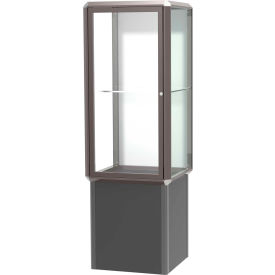 "Prominence Spotlight Tower Case, Plaque Back, Bronze Frame, Locking Base, 24""L x 72""H x 24""D"