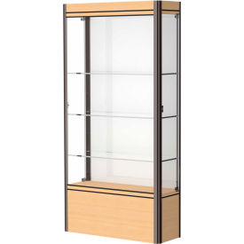 "Contempo Lighted Floor Case, White Back, Light Maple Base, Dark Bronze Frame, 36""L x 72""H x 14""D"
