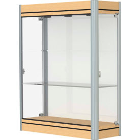 """Contempo Lighted Wall Case, White Back, Light Maple Base, Satin Frame, 36""""L x 44""""H x 14""""D"""