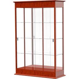 "Varsity Display Case Cherry Oak, Mirror Back, Sliding Door 48""W x 18""D x 77""H"