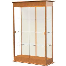 "Varsity Display Case Carmel Oak, Fabric Back, Sliding Door 48""W x 18""D x 77""H"