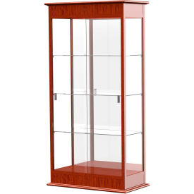 """Varsity Display Case Cherry Oak, Mirror Back 36""""W x 18""""D x 77""""H"""