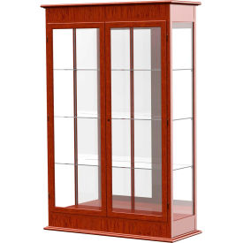 "Varsity Display Case Cherry Oak, Mirror Back, Hinged Door 48""W x 18""D x 77""H"