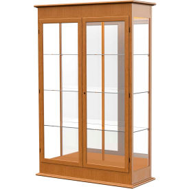 "Varsity Display Case Carmel Oak, Mirror Back, Hinged Door 48""W x 18""D x 77""H"