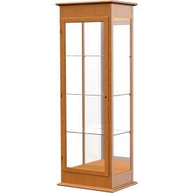 "Varsity Display Case Carmel Oak, Mirror Back 25""W x 18""D x 77""H"