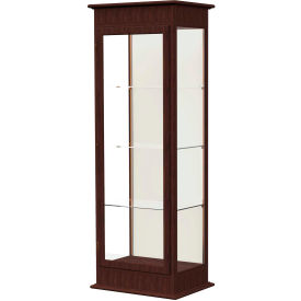 "Varsity Lighted Tower Case, Hinged Door, Plaque Back, Espresso Frame, 25""L x 77""H x 18""D"