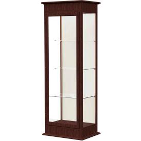 "Varsity Lighted Tower Case, Hinged Door, Plaque Back, Espresso Frame, 25""L x 77""H x 18""D"
