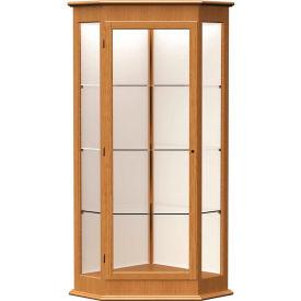 """Varsity Display Case Autumn Oak, Fabric Back 28""""W x 28""""D x 77""""H"""