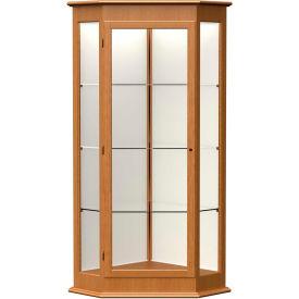 "Varsity Display Case Carmel Oak, Fabric Back 28""W x 28""D x 77""H"