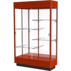 "Heritage Floor Case, Mirror Back, Cherry Oak Frame w/ Lighted Cornice, 48""L x 76""H x 18""D"