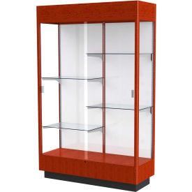 """Heritage Floor Case, White Back, Cherry Oak Frame w/ Lighted Cornice, 48""""L x 76""""H x 18""""D"""