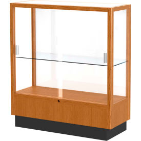 "Heritage Display Case Carmel Oak, White Back 36""W x 14""D x 40""H"