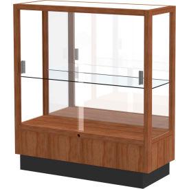 """Heritage Display Case Danish Walnut, Mirror Back 36""""W x 14""""D x 40""""H"""