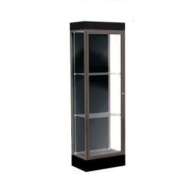 """Edge Lighted Floor Case, Black Back, Dark Bronze Frame, 6"""" Black Base, 24""""W x 76""""H x 20""""D"""