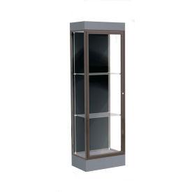 """Edge Lighted Floor Case, Black Back, Dark Bronze Frame, 6"""" Carbon Mesh Base, 24""""W x 76""""H x 20""""D"""