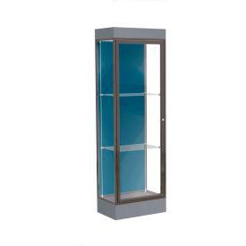 "Edge Lighted Floor Case, Blue Steel Back, Dark Bronze Frame, 6"" Carbon Mesh Base, 24""W x 76""H x 20""D"