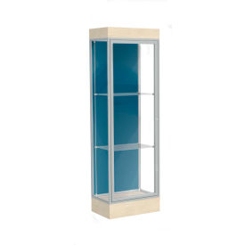 "Edge Lighted Floor Case, Blue Steel Back, Satin Frame, 6"" Chardonnay Base, 24""W x 76""H x 20""D"