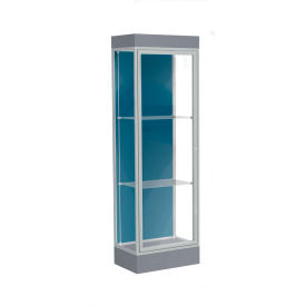 "Edge Lighted Floor Case, Blue Steel Back, Satin Frame, 6"" Carbon Mesh Base, 24""W x 76""H x 20""D"