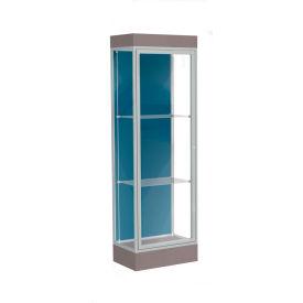 """Edge Lighted Floor Case, Blue Steel Back, Satin Frame, 6"""" Morro Zephyr Base, 24""""W x 76""""H x 20""""D"""