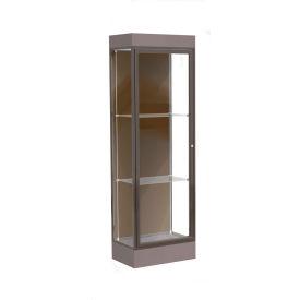 "Edge Lighted Floor Case, Chocolate Back, Dark Bronze Frame, 6"" Morro Zephyr Base, 24""W x 76""H x 20""D"