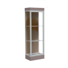 "Edge Lighted Floor Case, Chocolate Back, Satin Frame, 6"" Morro Zephyr Base, 24""W x 76""H x 20""D"