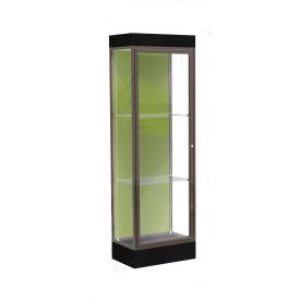 """Edge Lighted Floor Case, Pale Green Back, Dark Bronze Frame, 6"""" Black Base, 24""""W x 76""""H x 20""""D"""