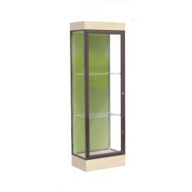 "Edge Lighted Floor Case, Pale Green Back, Dark Bronze Frame, 6"" Chardonnay Base, 24""W x 76""H x 20""D"
