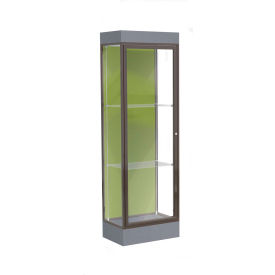 "Edge Lighted Floor Case, Pale Green Back, Dark Bronze Frame, 6"" Carbon Mesh Base, 24""W x 76""H x 20""D"