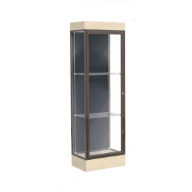 "Edge Lighted Floor Case, Slate Back, Dark Bronze Frame, 6"" Chardonnay Base, 24""W x 76""H x 20""D"