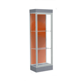 "Edge Lighted Floor Case, Terra Cotta Back, Satin Frame, 6"" Carbon Mesh Base, 24""W x 76""H x 20""D"