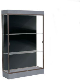"Edge Lighted Floor Case, Black Back, Dark Bronze Frame, 6"" Carbon Mesh Base, 48""W x 76""H x 20""D"